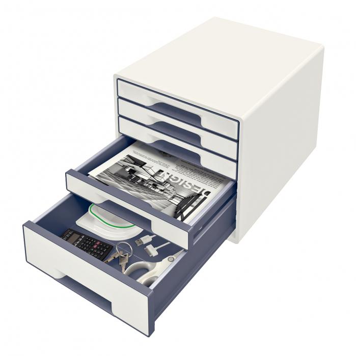 Cabinet cu sertare Leitz WOW, 5 sertare, PS, A4, cu tavita organizare, alb-gri 1