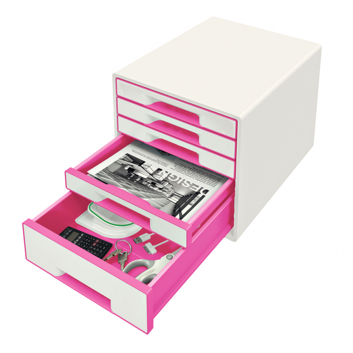 Cabinet cu sertare Leitz WOW, 5 sertare, PS, A4, cu tavita organizare, alb-roz 1