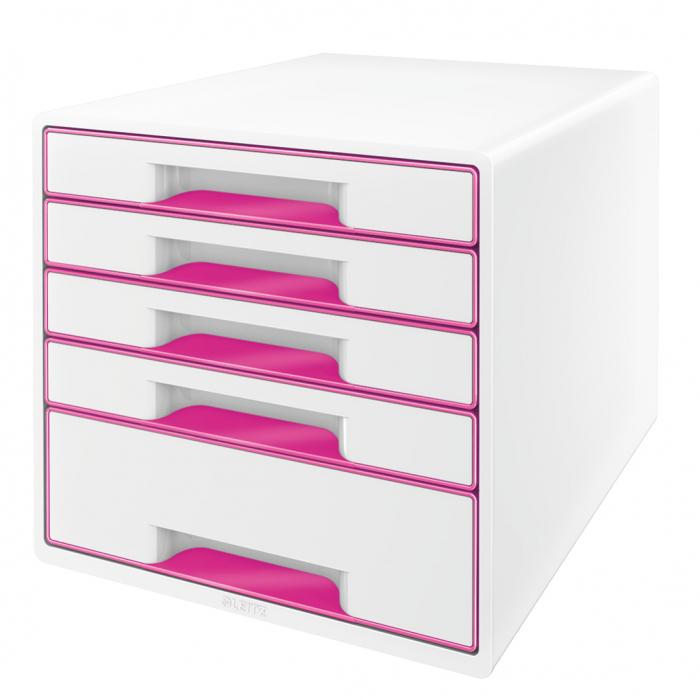 Cabinet cu sertare Leitz WOW, 5 sertare, PS, A4, cu tavita organizare, alb-roz 0