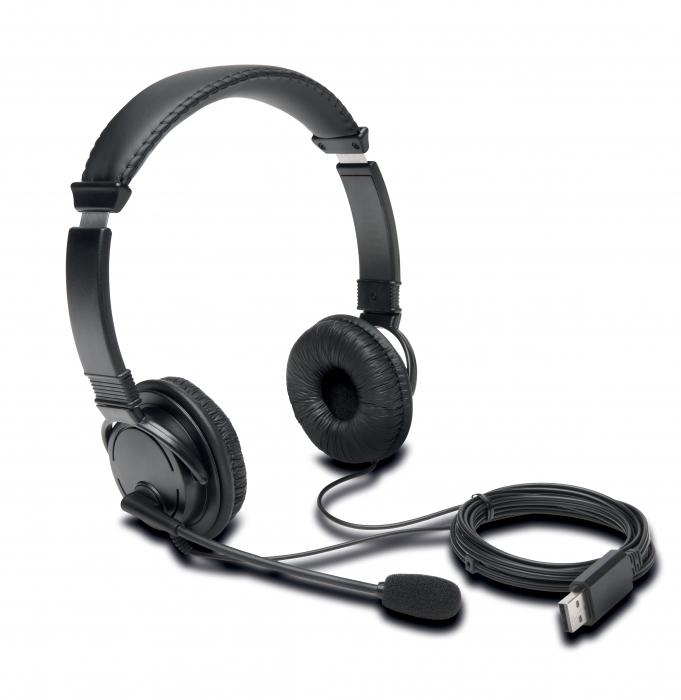 Casti on-ear Kensington cu microfon, cablu USB 1.8 m, negru [2]