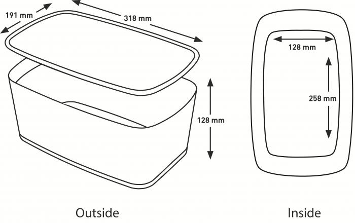 Cutie depozitare Leitz MyBox, cu capac, mare, culori duale, alb-gri 4