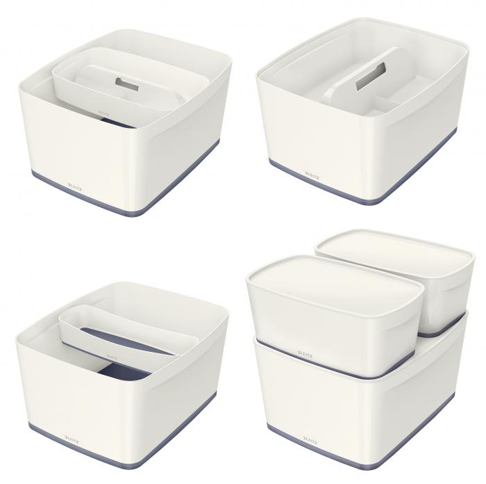 Cutie depozitare Leitz MyBox, cu capac, mare, culori duale, alb-gri 3