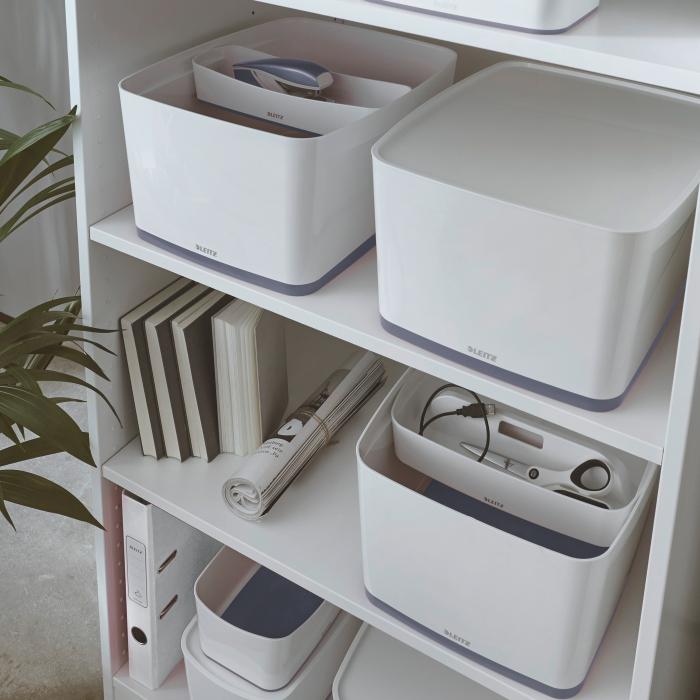 Cutie depozitare Leitz MyBox, cu capac, mare, culori duale, alb-gri 1