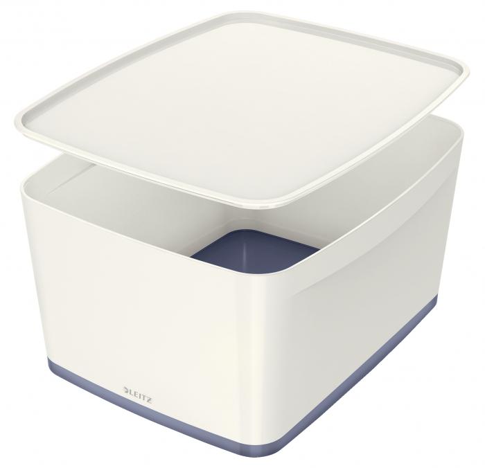 Cutie depozitare Leitz MyBox, cu capac, mare, culori duale, alb-gri 0