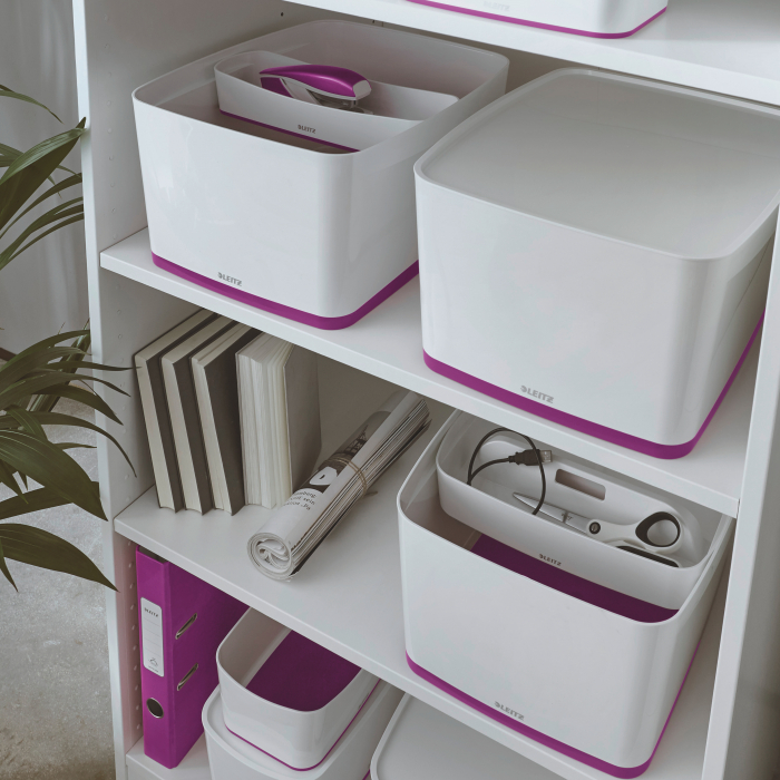 Cutie depozitare Leitz MyBox, cu capac, mare, culori duale, alb-mov 1