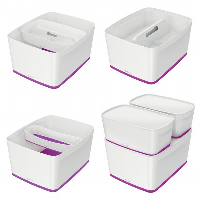 Cutie depozitare Leitz MyBox, cu capac, mare, culori duale, alb-mov 3