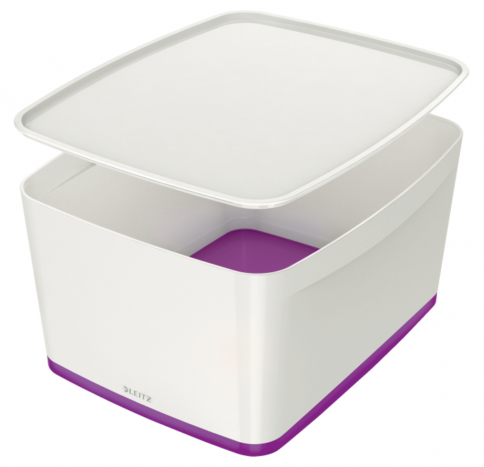 Cutie depozitare Leitz MyBox, cu capac, mare, culori duale, alb-mov 0