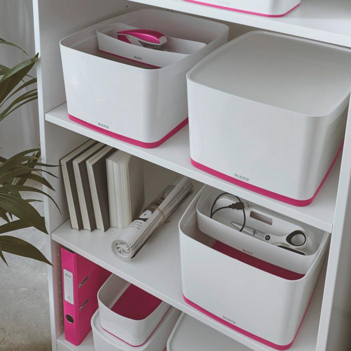 Cutie depozitare Leitz MyBox, cu capac, mare, culori duale, alb-roz 6