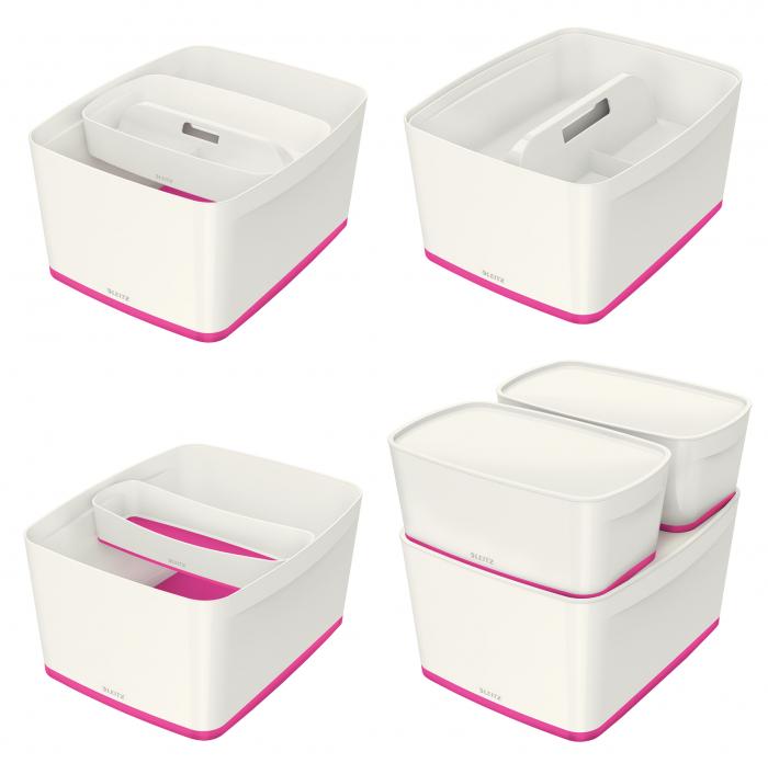 Cutie depozitare Leitz MyBox, cu capac, mare, culori duale, alb-roz 3