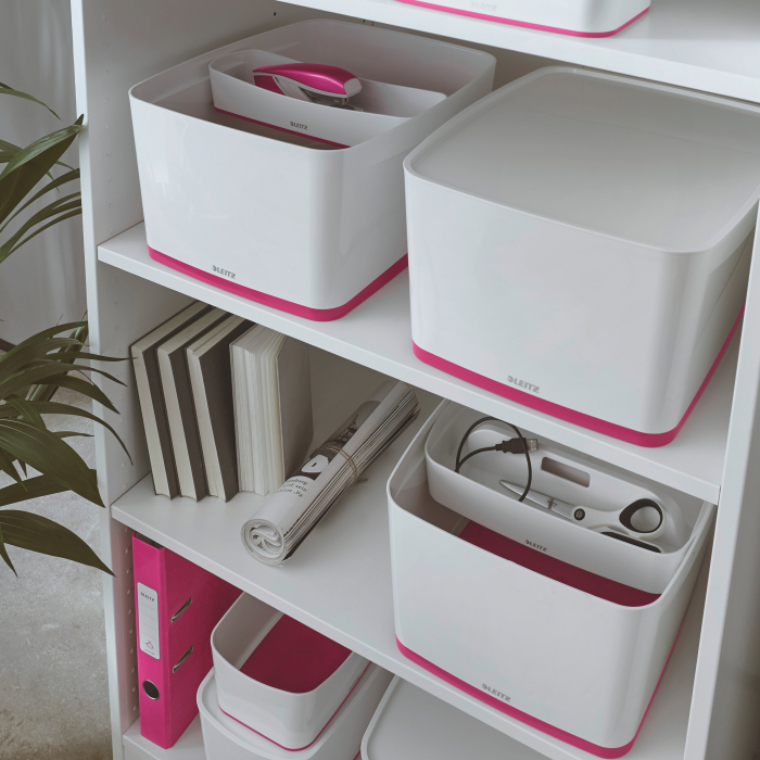 Cutie depozitare Leitz MyBox, cu capac, mare, culori duale, alb-roz 1