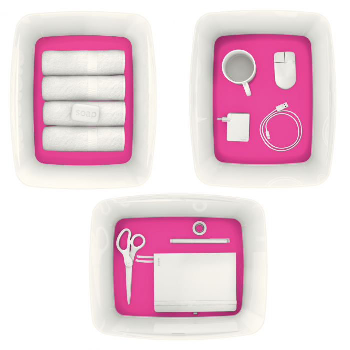 Cutie depozitare Leitz MyBox, cu capac, mare, culori duale, alb-roz 7