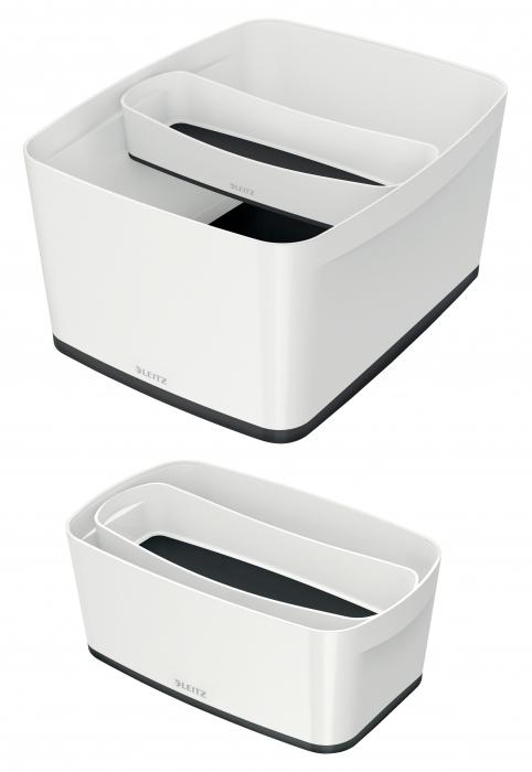 Cutie depozitare Leitz MyBox Organiser, lunga, culori duale, alb-negru 2