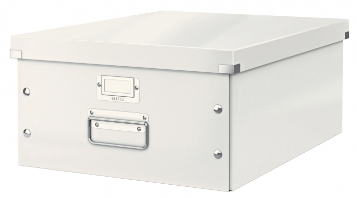 Cutie depozitare Leitz WOW Click & Store, carton laminat, mare, alb 0