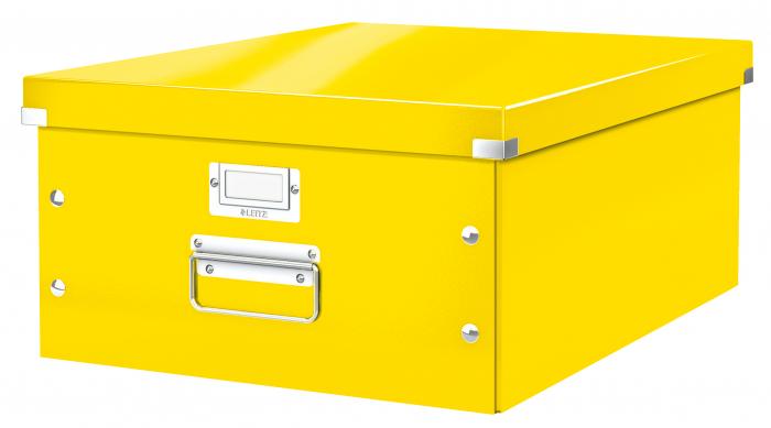 Cutie depozitare Leitz WOW Click & Store, carton laminat, mare, galben 0