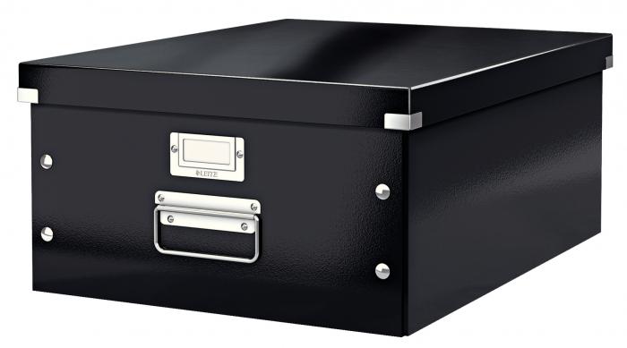 Cutie depozitare Leitz WOW Click & Store, carton laminat, mare, negru 0