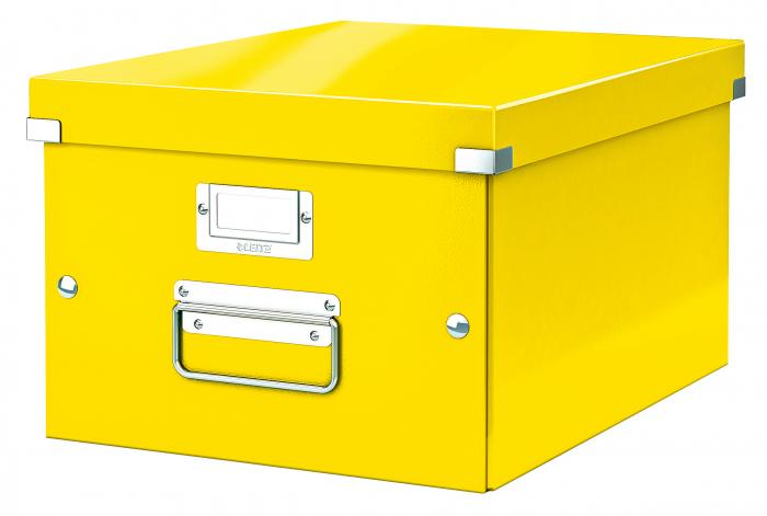 Cutie depozitare Leitz WOW Click & Store, carton laminat, medie, galben 0