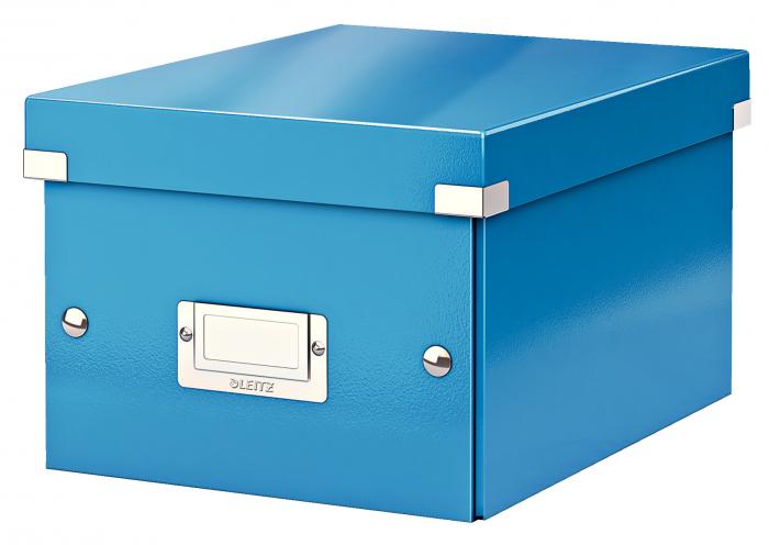 Cutie depozitare Leitz WOW Click & Store, carton laminat, mica, albastru 0