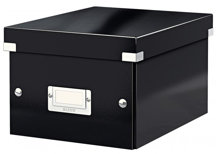 Cutie depozitare Leitz WOW Click & Store, carton laminat, mica, negru 0