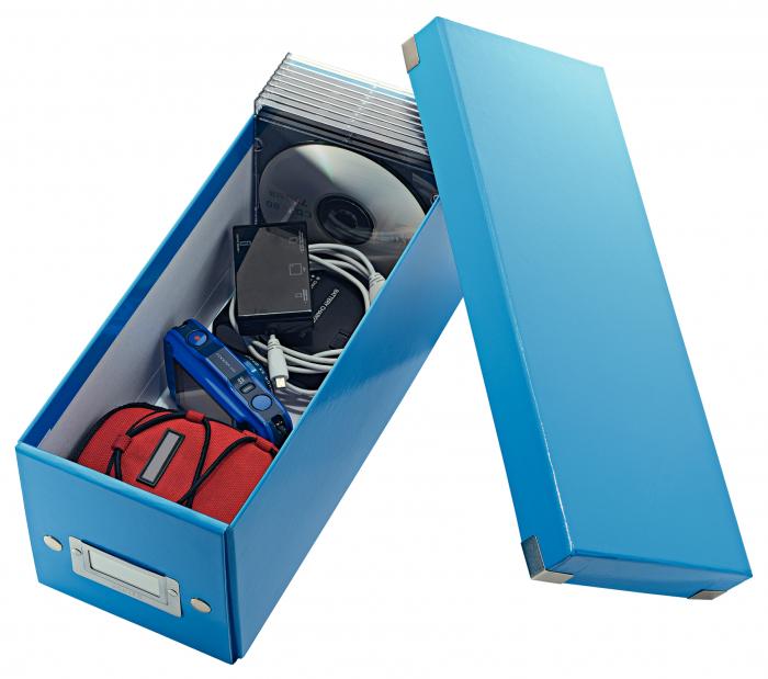 Cutie depozitare Leitz WOW Click & Store, carton laminat, albastru 1