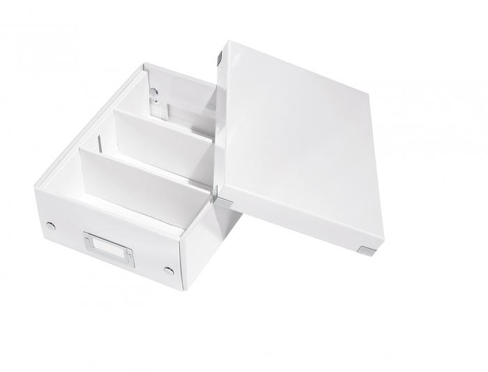 Cutie depozitare Leitz WOW Click & Store Organizer, carton laminat, mica, alb 1