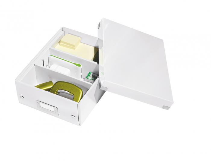 Cutie depozitare Leitz WOW Click & Store Organizer, carton laminat, mica, alb 2