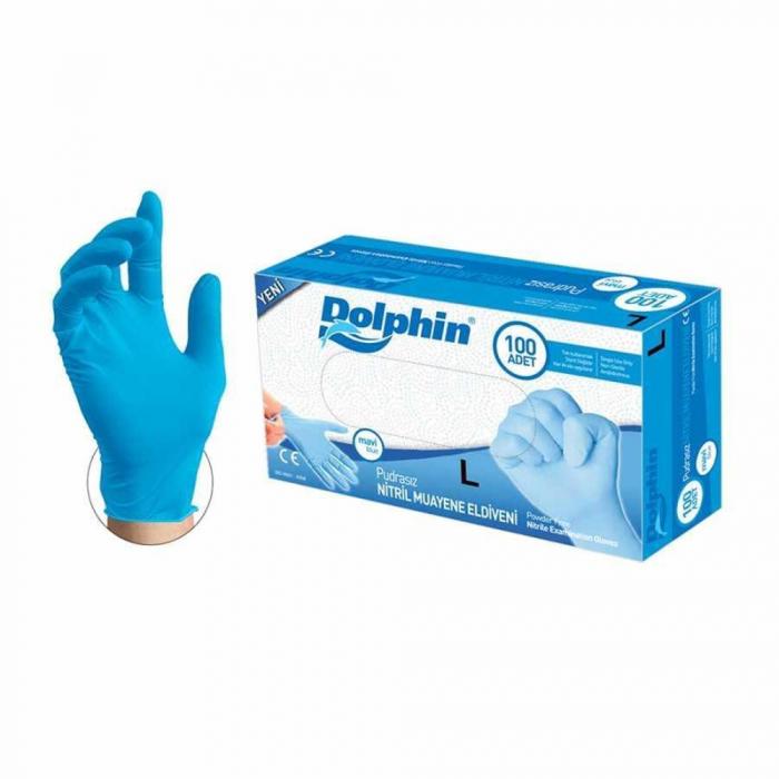 Manusi nitril Dolphin albastru, L, 100 buc. 0