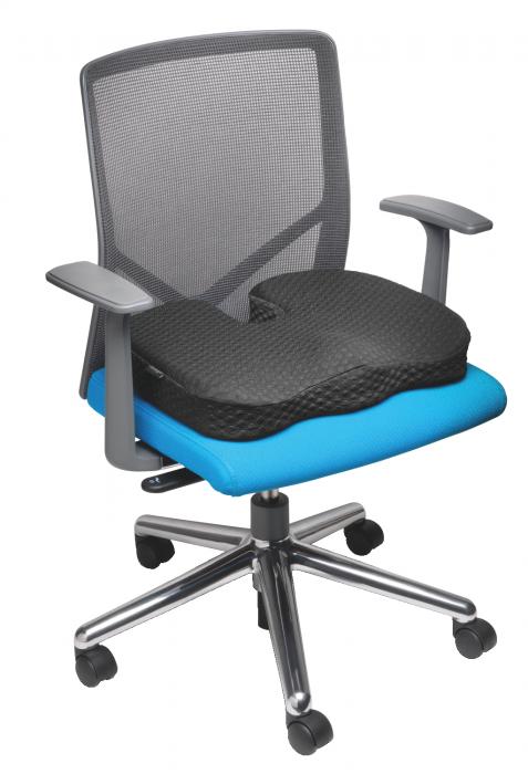 Pernuta scaun Kensington, spuma cu memorie, gel pentru racire, negru 8