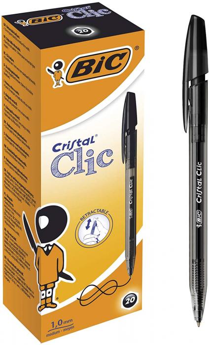 Roller Bic Cristal Clic negru [0]