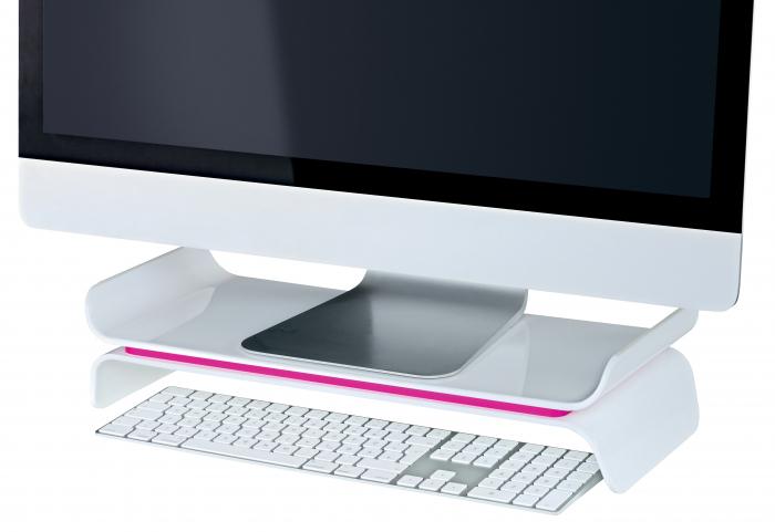 Suport ergonomic Leitz Ergo WOW, pentru monitor, ajustabil, roz 1