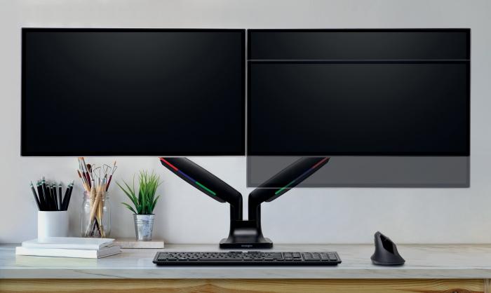 Suport pentru monitor Kensington One-Touch, cu doua brate adjustabile, negru 1
