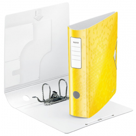 Biblioraft Leitz Active WOW 180°, A4, 75 mm, polyfoam, galben1