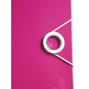 Biblioraft Leitz Active WOW 180°, A4, 75 mm, polyfoam, roz metalizat2