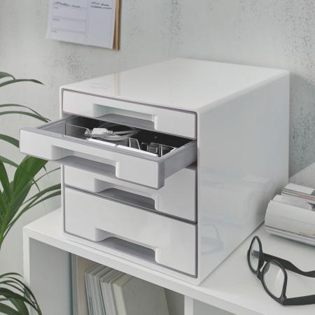 Cabinet cu sertare Leitz WOW, 4 sertare, PS, A4, cu tavita organizare, alb-gri1