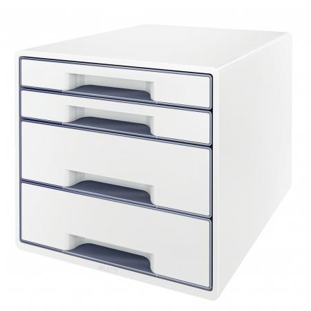 Cabinet cu sertare Leitz WOW, 4 sertare, PS, A4, cu tavita organizare, alb-gri0