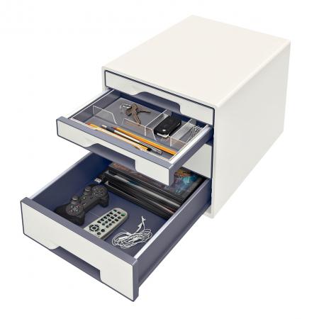 Cabinet cu sertare Leitz WOW, 4 sertare, PS, A4, cu tavita organizare, alb-gri2