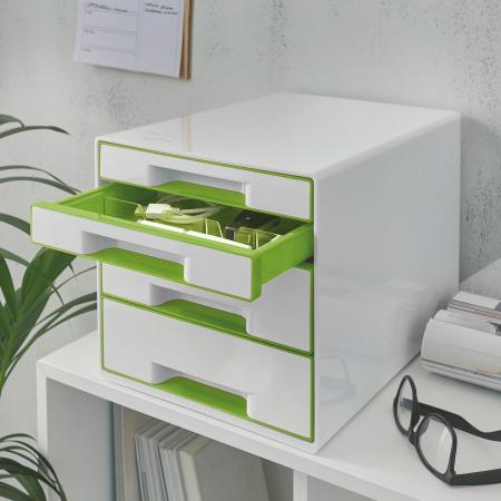 Cabinet cu sertare Leitz WOW, 4 sertare, PS, A4, cu tavita organizare, alb-verde1