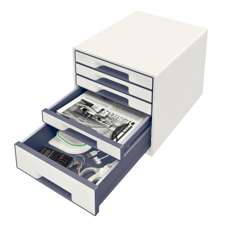 Cabinet cu sertare Leitz WOW, 5 sertare, PS, A4, cu tavita organizare, alb-gri1