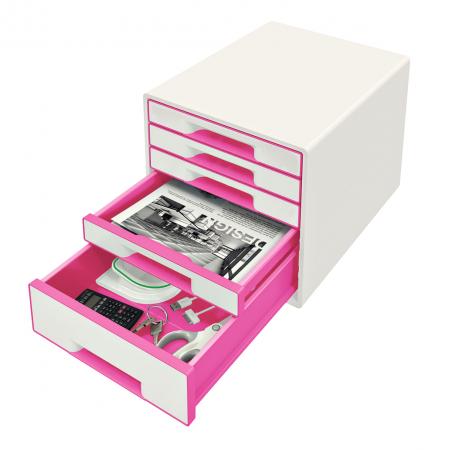 Cabinet cu sertare Leitz WOW, 5 sertare, PS, A4, cu tavita organizare, alb-roz1
