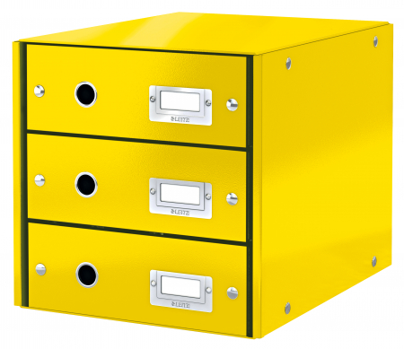 Cabinet cu sertare Leitz WOW Click & Store, 3 sertare, galben1