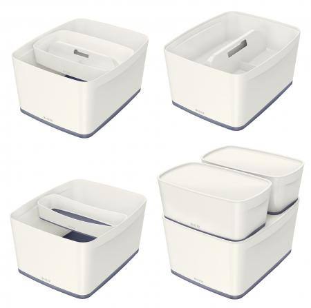 Cutie depozitare Leitz MyBox, cu capac, mare, culori duale, alb-gri3