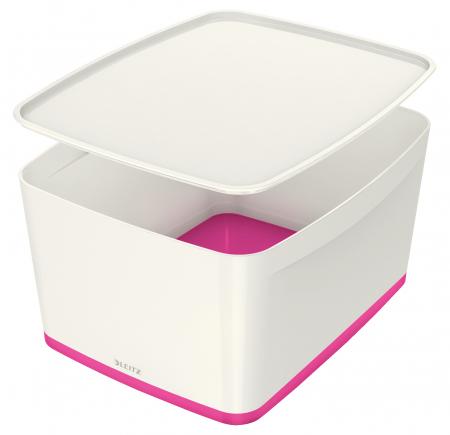 Cutie depozitare Leitz MyBox, cu capac, mare, culori duale, alb-roz0