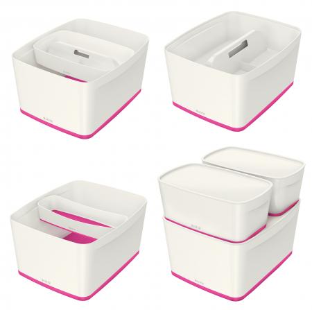 Cutie depozitare Leitz MyBox, cu capac, mare, culori duale, alb-roz3