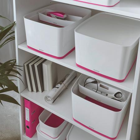 Cutie depozitare Leitz MyBox, cu capac, mare, culori duale, alb-roz1