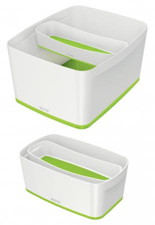 Cutie depozitare Leitz MyBox Organiser, lunga, culori duale, alb-verde2