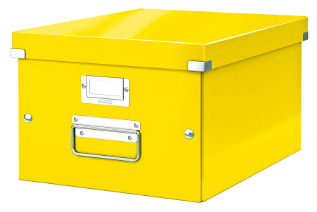 Cutie depozitare Leitz WOW Click & Store, carton laminat, medie, galben0