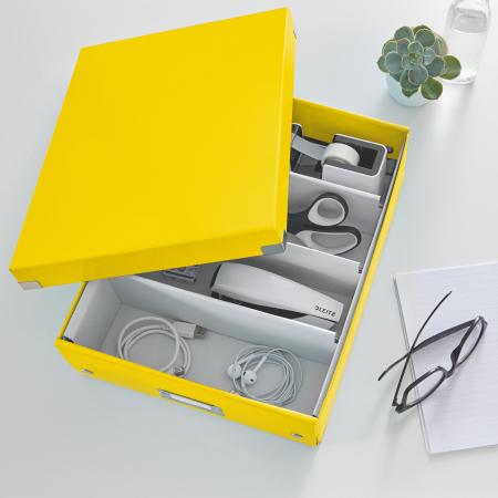 Cutie depozitare Leitz WOW Click & Store Organizer, carton laminat, medie, galben1
