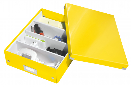 Cutie depozitare Leitz WOW Click & Store Organizer, carton laminat, medie, galben2