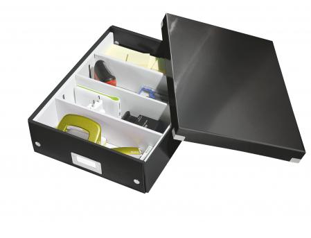 Cutie depozitare Leitz WOW Click & Store Organizer, carton laminat, medie, negru2