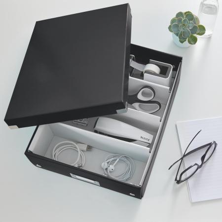 Cutie depozitare Leitz WOW Click & Store Organizer, carton laminat, medie, negru1