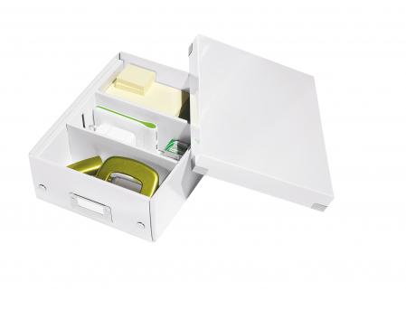 Cutie depozitare Leitz WOW Click & Store Organizer, carton laminat, mica, alb2